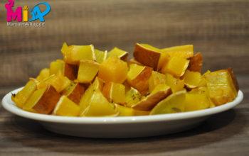 Rezept für schnellen Ofenkürbis/Kartoffelspalten